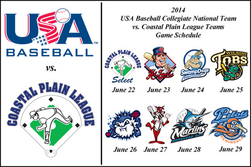 Coastal Plain League teams to play eight games with USA Baseball Collegiate National Team in 2014